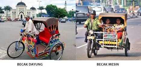 Becak dayung, becak motor, becak di Medan