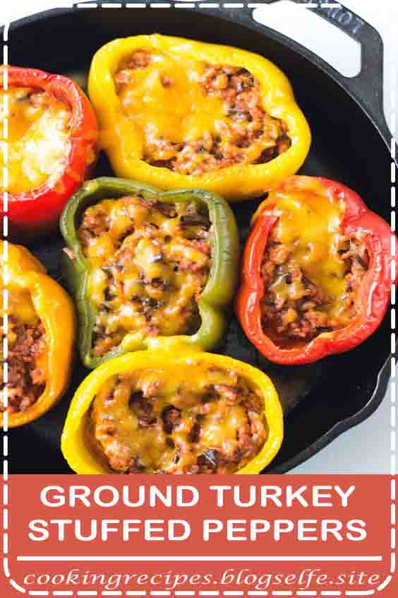 4.8 ★★★★★ | This delicious ground turkey stuffed peppers recipe is a healthy alternative to traditional stuffed peppers. It's truly one of my favorite ground turkey recipes! #dinner recipes #for family #crockpot #stuffed peppers