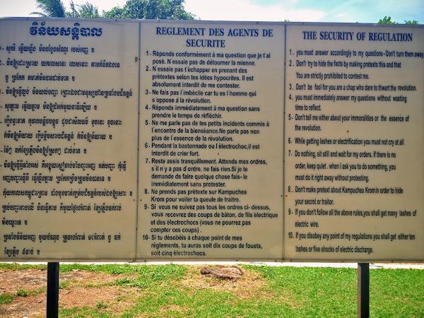 Reglamento del campo de exterminio de Toul Sleng (Camboya)