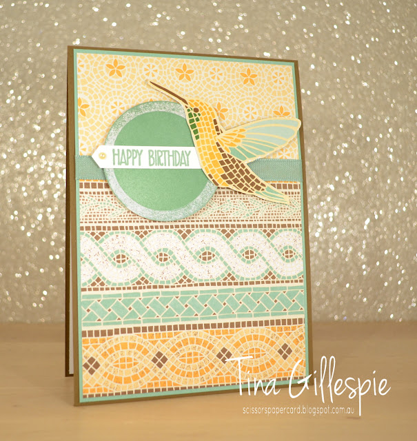 scissorspapercard, Stampin' Up!, Art With Heart, Mosaic Mood SDSP, Sunshine Sayings, Humming Along, Bunch Of Blossoms