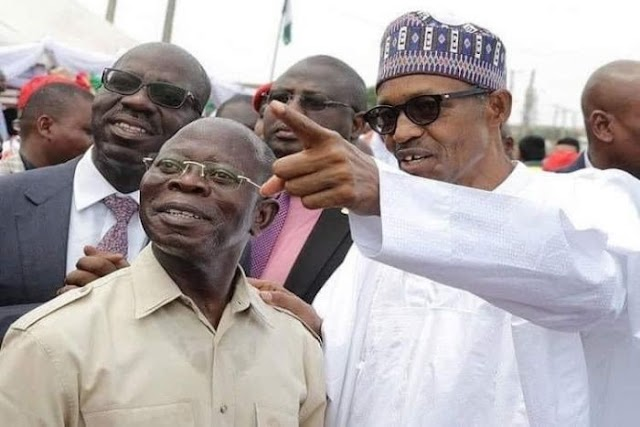 PHOTO OF THE DAY!! Caption This Photo Of Buhari And Oshiomole (Best Caption Wins