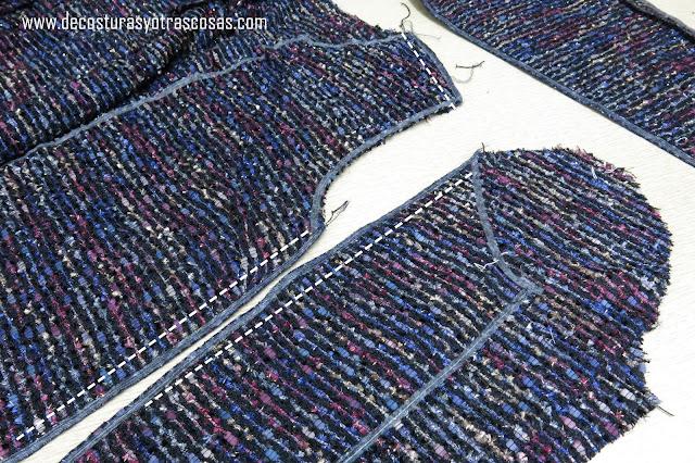 como coser una chaqueta de terciopelo