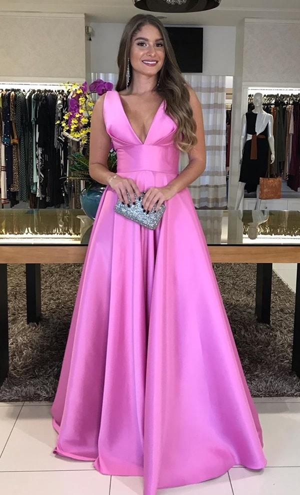 vestido rosa chiclete para madrinha de casamento