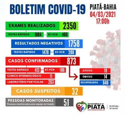 Piatã registra 04 novos casos de covid-19