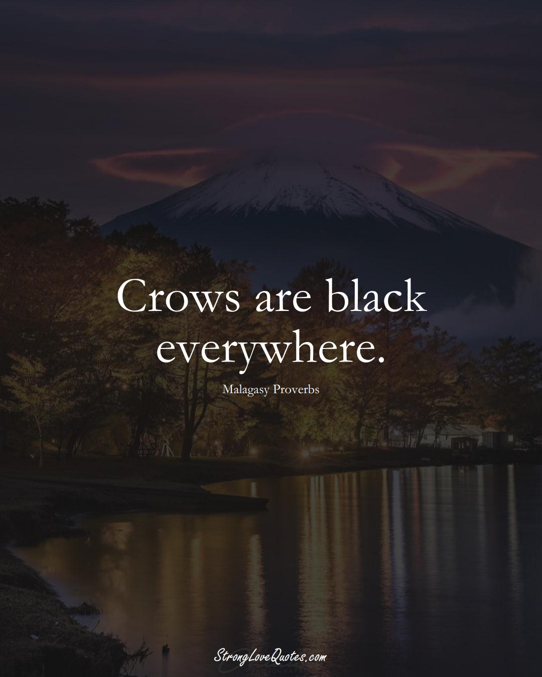 Crows are black everywhere. (Malagasy Sayings);  #AfricanSayings
