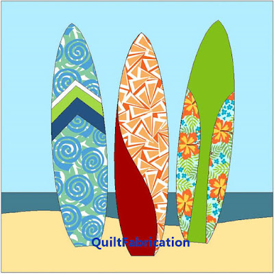 three surfboards standing in the sand quilt block