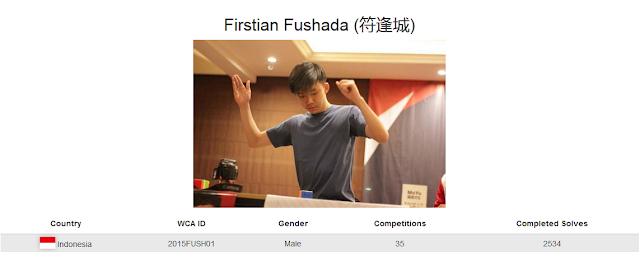 Profile akun WCA dari Firsstian Fusaha yang merupakan cuber Indonesia yang berada pada peringkat pertama sekalgius pemegang rekor nasional rubik 7x7x7 kategori single