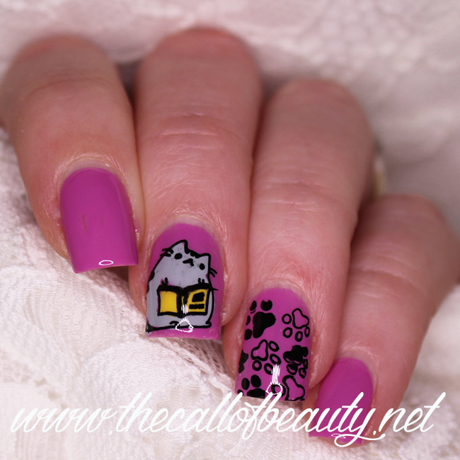 Pusheen Reads a Book Nail Art