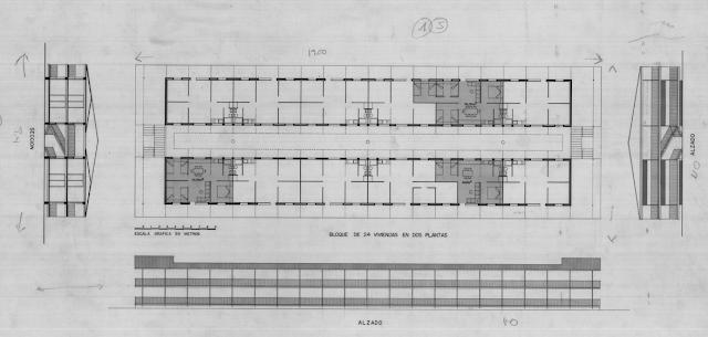 Plano de edificio en planta, alzado y sección