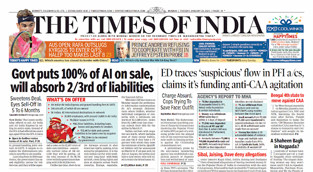 Times Of India Epaper 28th January 2020