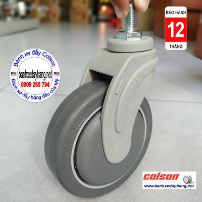 Bánh xe cao su lắp cọc vít M12 x 25mm Colson 5 inch | STO-5854-448 www.banhxepu.net