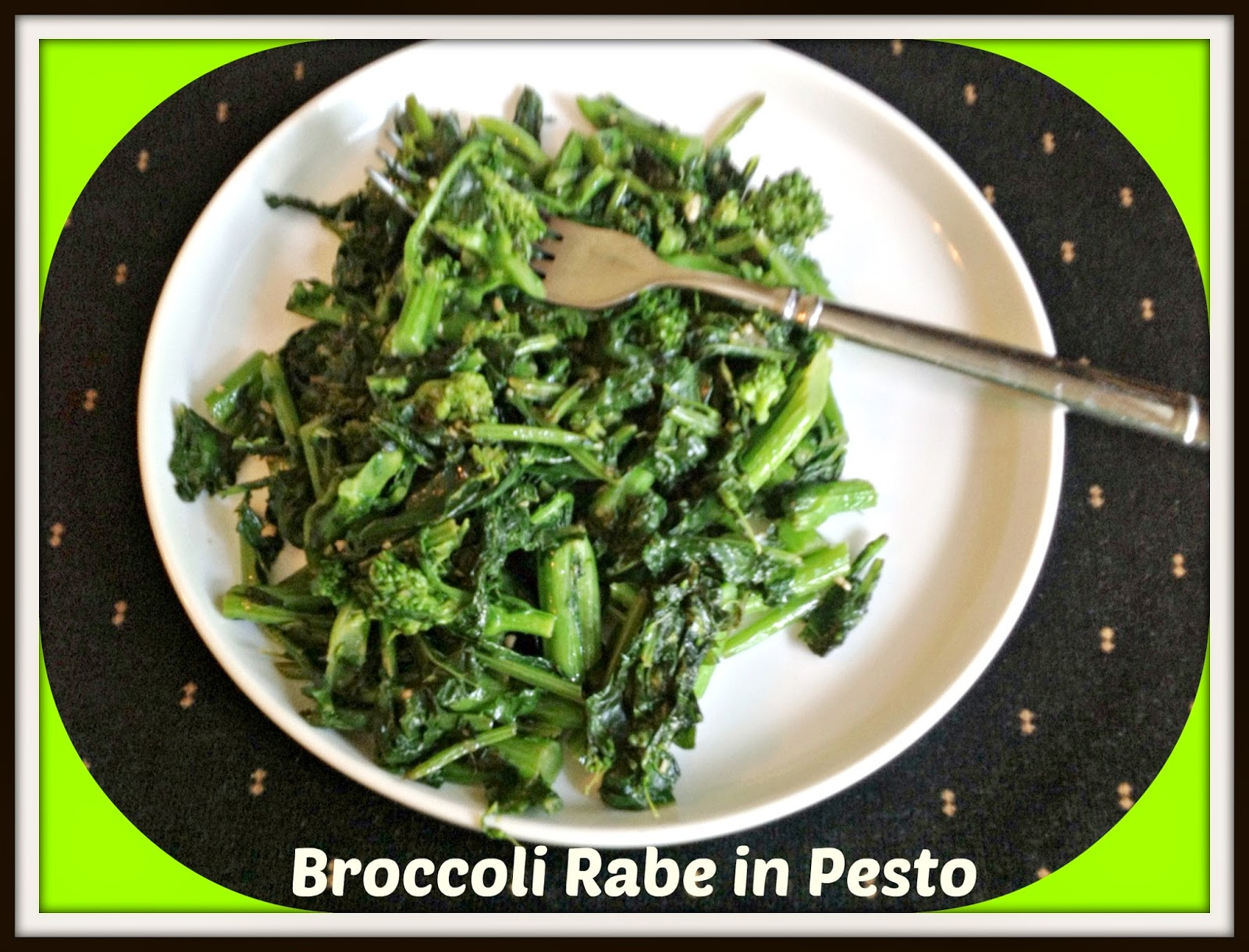 broccoli rabe tossed in pesto