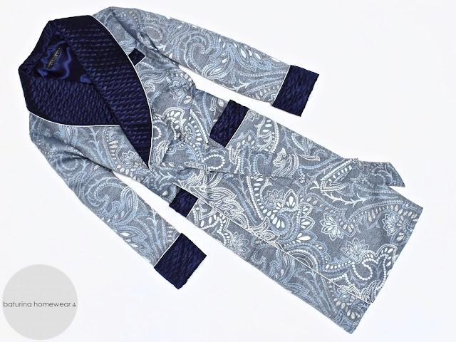 Men's blue silk dressing gown paisley robe quilted smoking jacket warm victorian english gentleman vintage robes