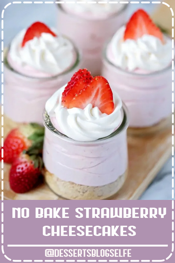 Delicious no-bake strawberry cheesecakes are a simple summer dessert that kids can help make! #DessertsBlogSelfe #strawberryrecipe #cheesecake #nobakedessert #recipevideo #SummerDesserts