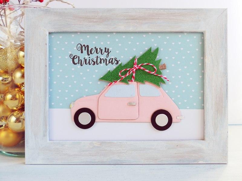 Decorazione natalizia – Targa di Natale da appendere con Auto e Alberello