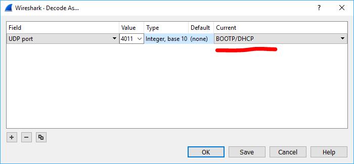 CodeBlog: Wireshark: How to decode UDP 4011 data as BOOTP/DHCP