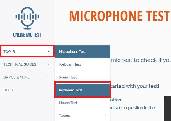 3. Kiểm tra bàn phím laptop với Online Mic Test a