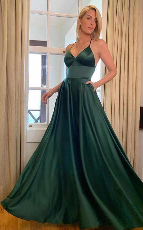 Ana hickmann vestido de festa longo verde para madrinha de casamento