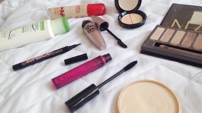 Travel makeup flatlay