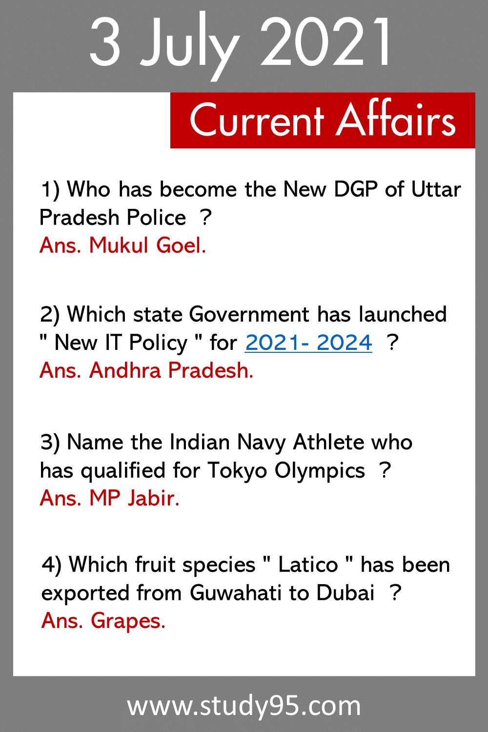 3 July 2021 Current Affairs