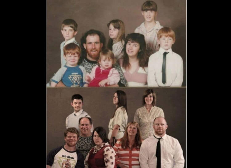 20 Hilarious Before And After Pictures Made By Adults Who Reminisced Their Childhood Years - The ideal family reenactment.