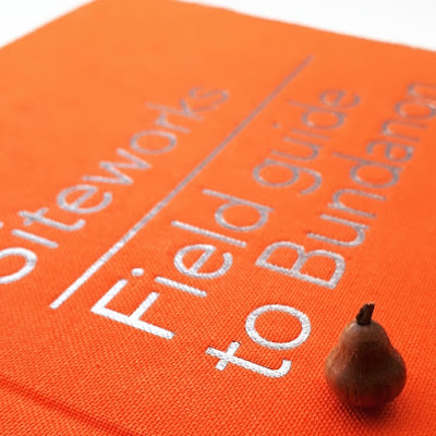 Miniature wooden pear sitting on a copy of the book 'Siteworks: Field guide to Bundanon'.