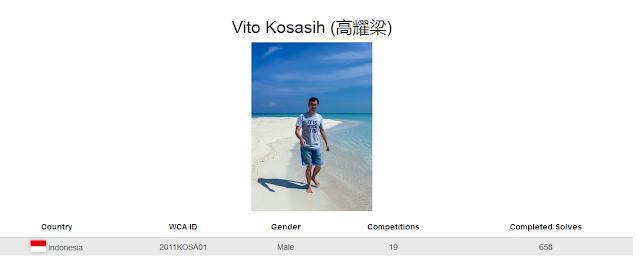 Profile akun WCA dari Vito Kosasih yang merupakan peringkat kedua nasional menyelesaikan rubik megaminx kategori single