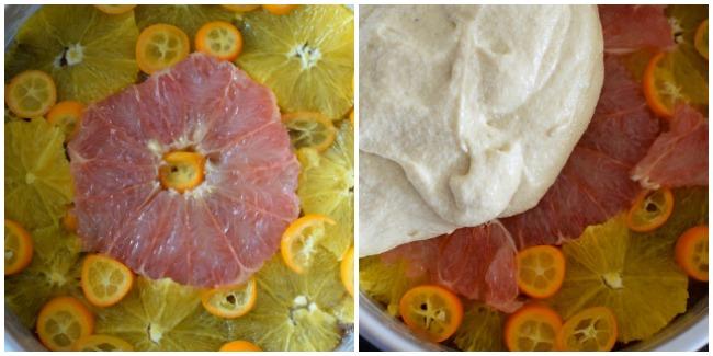 Cubierta y preparación de la torta cítrica volteada. Un bizcocho suave y húmedo que combina perfectamente los sabores del limón, naranja, toronja y naranjas chinas con la nuez moscada