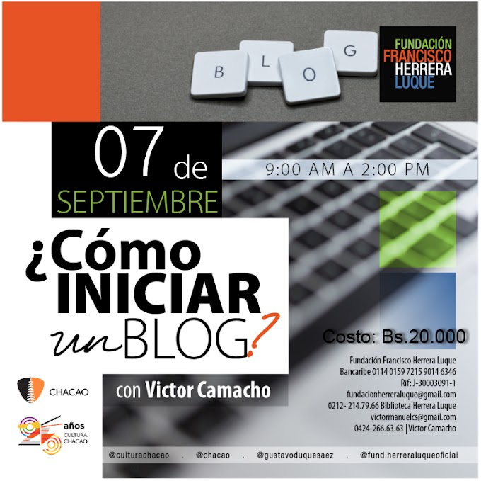 "Taller ""Cómo iniciar un blog"" (Caracas, 7 de septiembre de 2019)"