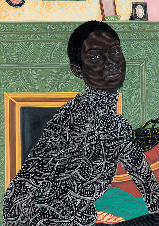 Toyin Ojih Odutola  Paris Apartment, 2016-2017 charcoal, pastel and pencil on paper 59 3/8 x 42 inches