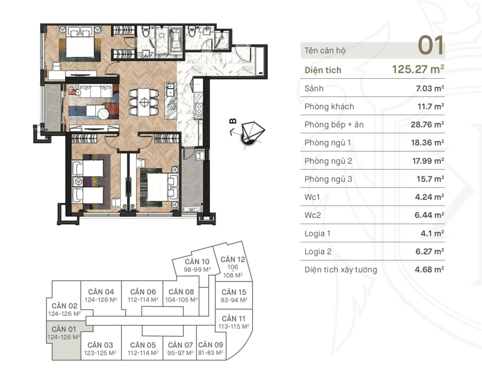 Thiết kế căn 01 chung cư King Palace