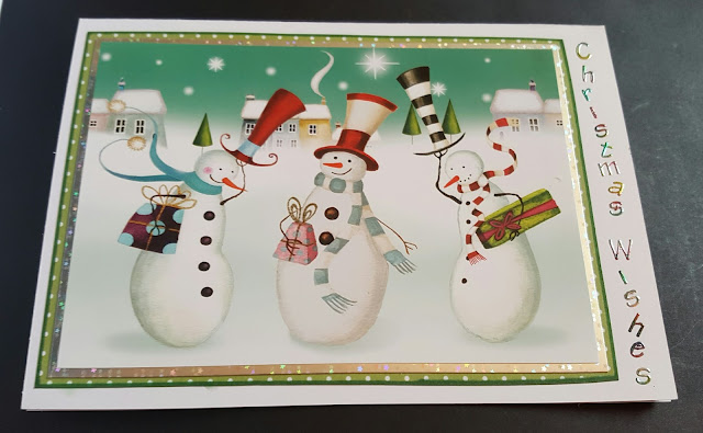 """Trio of funky snowmen 7"""" x 5"""" Christmas Wishes card"""