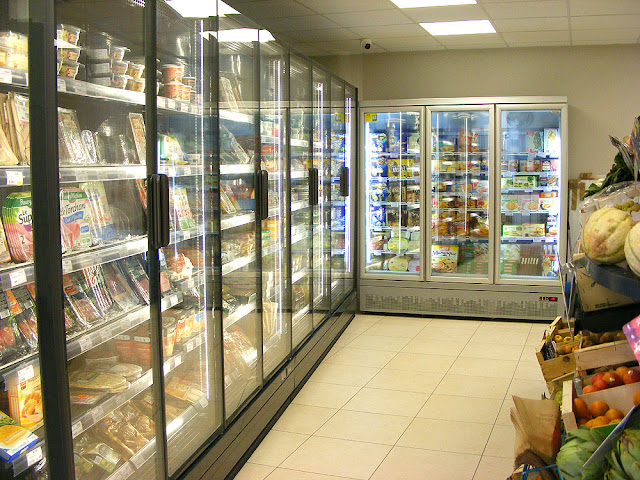 Refrigerated section, Village corner shop, Indre et Loire, France. Photo by Loire Valley Time Travel.