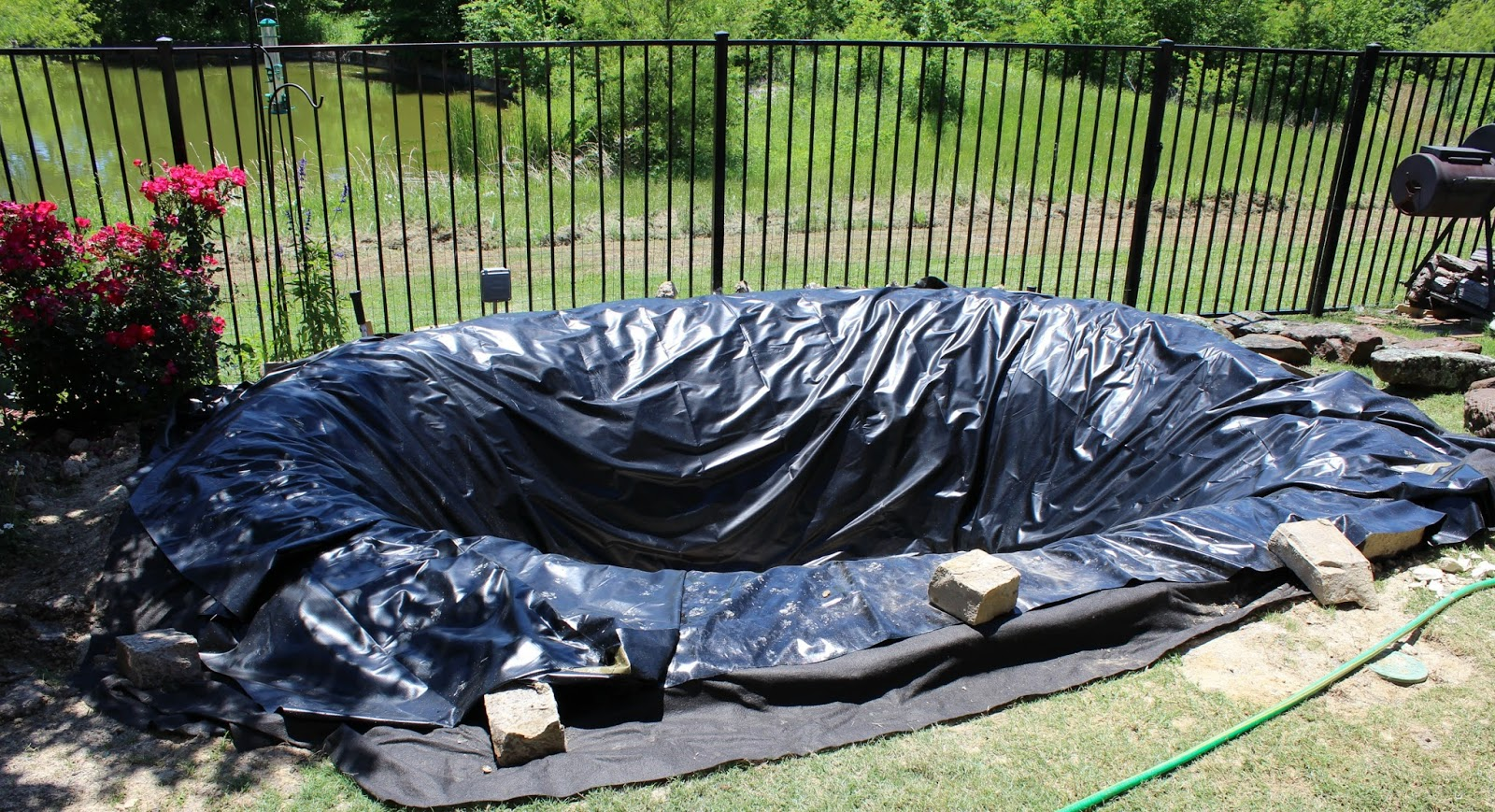 building a backyard pond part 4 poofing the pillows