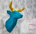 Patung Kepala Rusa Dekorasi Dinding Kertas 3D Papercraft template