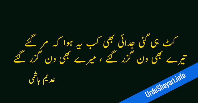 Katt Hi Gaye Judai Bhi, Kab Yeh Hua Ke Marr Gaye 2 line poetry in urdu by adeem hashmi aj ka shair