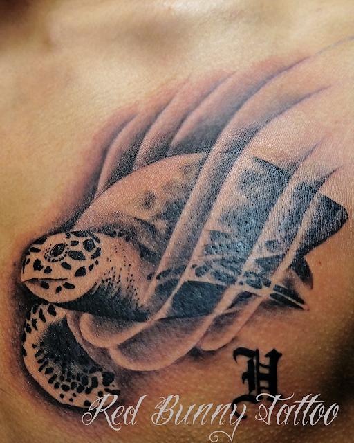 one point tattoo turtle ウミガメ 海亀 タトゥー