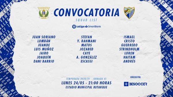 Málaga, 21 convocados ante el Leganés