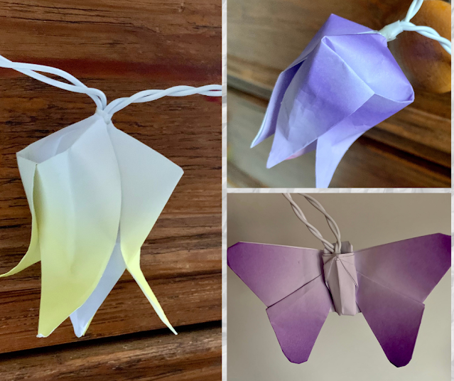 Origami light shades collage