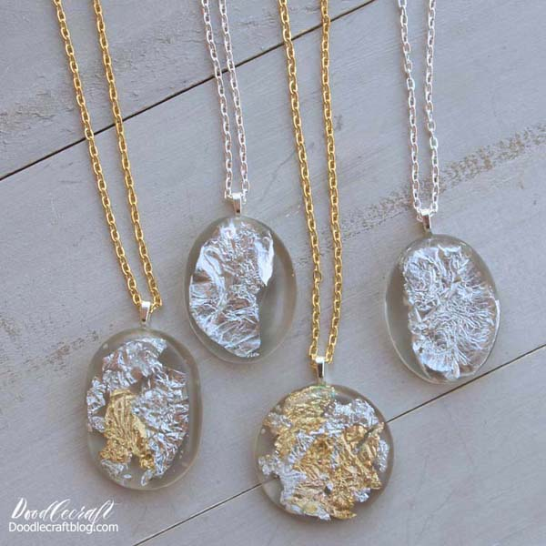 Gold and Silver leaf suspended in clear Easy Cast resin made into pendant necklaces.