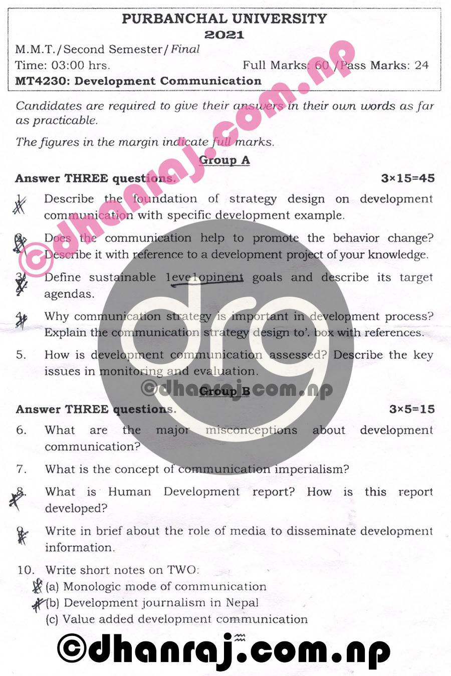 Development-Communication-MT4230-Exam-Question-Paper-2078-2021-Purbanchal-University-PU