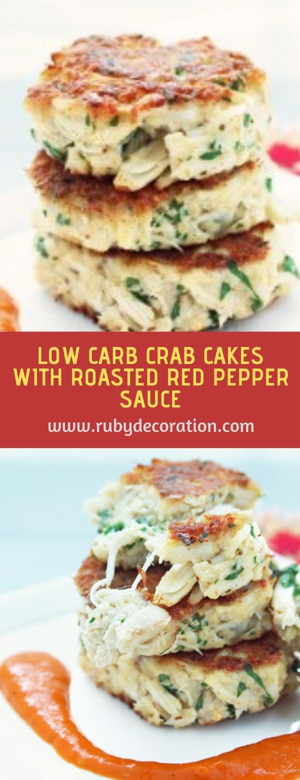 Low carb crab cakes with roasted red pepper sauce