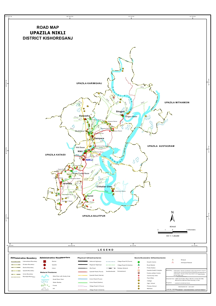 Nikli Upazila Road Map Kishoreganj District Bangladesh