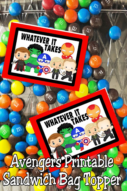 "Enjoy this fun printable bag topper at your Avengers Endgame movie showing or as a party favor for all your guests.  Just like Captain America and Black Widow, you will be able to do ""whatever it takes"" to save the universe with these sweet treats and printable bag toppers. #avengers #endgamemovie #avengersparty #superheroparty #diypartymomblog"