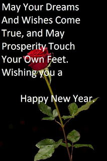 new year wish message with red rose