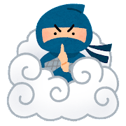 雲隠れの術をする忍者のイラスト