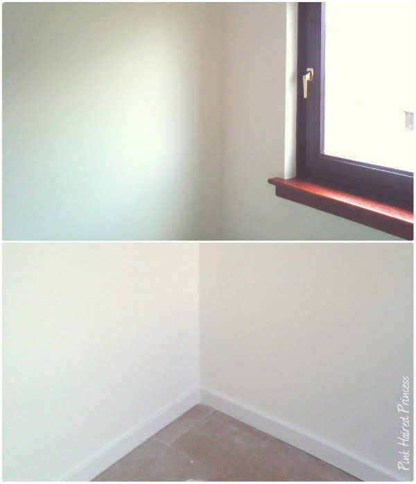 two images showing walls freshly painted in shoe room
