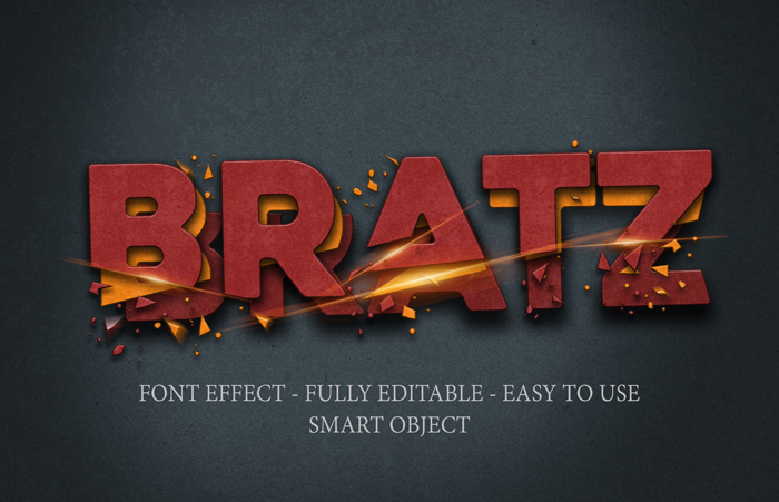3D Iron Crushed Cut Text Effect Template