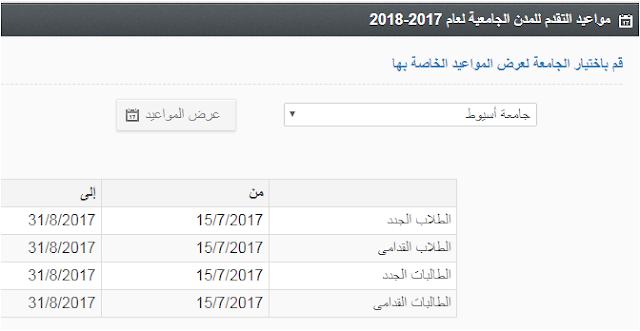 مواعيد التقديم للمدن الجامعية بجامعة اسيوط 2018/2017 موقع الزهراء للمدن الجامعيه
