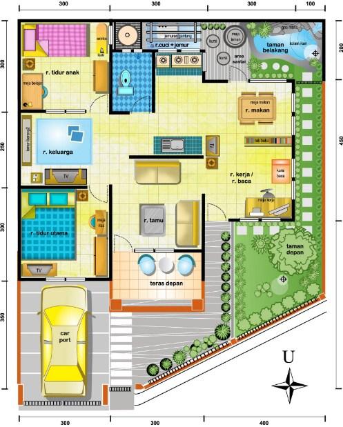 Denah Rumah Minimalis 1 Lantai Dengan 4 Kamar Tidur - Desain Rumah Idaman